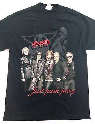Aerosmith JUST PUSH PLAY World Tour 2001 Concert T Shirt LARGE Rock n Roll Black
