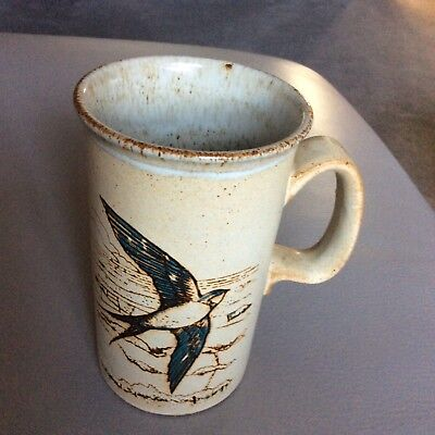 Dunoon Ceramics Swallows or Swifts Birds pottery mug vgc made in Scotland