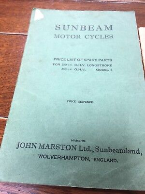 Sunbeam Motor Cycles 1933 Spare Parts Price List