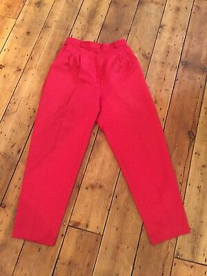 Womens Vintage Red High Waisted Trousers Size 10-12 - great condition