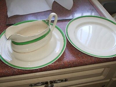 Queens Green Solian Ware Vintage Art Deco Gravy Boat  and two plates