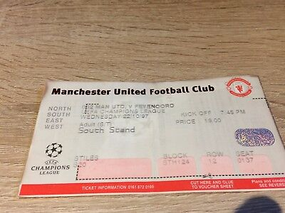 Manchester United V Feyenoord Uefa Champions League- October 1997 Ticket Stub