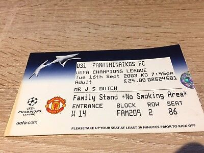 Manchester United V Panathinaikos Uefa Champions League September 2003 Ticket
