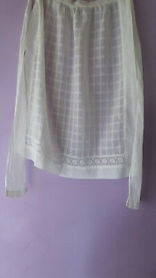 Vintage organza white embroidered apron