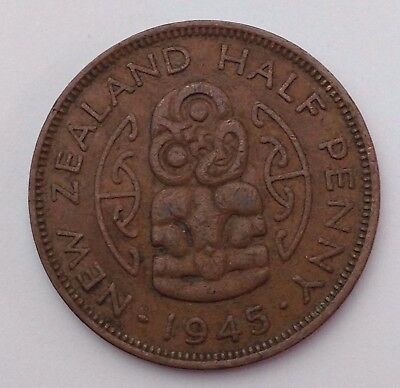 Dated : 1945 - Half Penny - Coin - King George VI - New Zealand