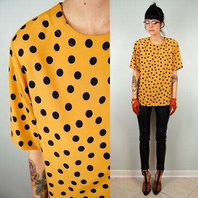 Vintage 80's Mustard Yellow Gold Polka Dot Tshirt Oversized Blouse Top 10 12 14
