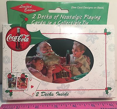 Coca Cola 2 Deck Christmas Theme Playing Card Set 1 Deck Opened 1 Deck Sealed