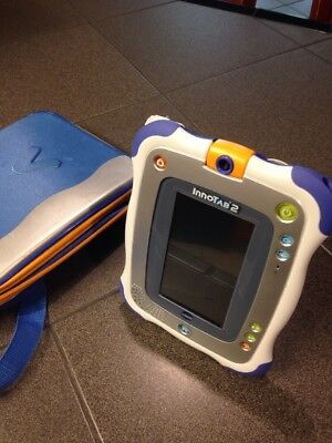 VTech InnoTab 2 S Purple Learning Tablet With 3 Games, BLUE Carrying Case