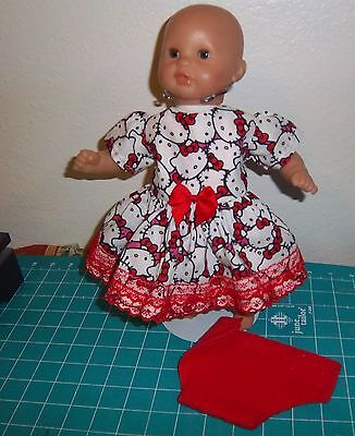 """Doll Clothes 12"""" inch COROLLE Baby doll Hello Kitty fabric dress diaper"""