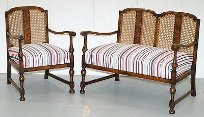 Vintage Suite Walnut & Cane Armchair & Bench Sofa Liberty William Morris Style