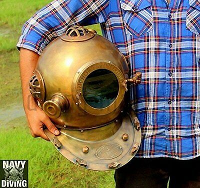 """Antique US Navy ANCHOR DIVING DIVERS HELMET SOLID STEEL & BRASS FULL SIZE 18"""""""
