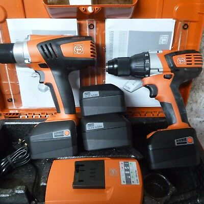 FEIN 14.4VOLT DRILL/DRIVER + DRILL   4 x 4AH BATTERIES + CHARGER UNUSED