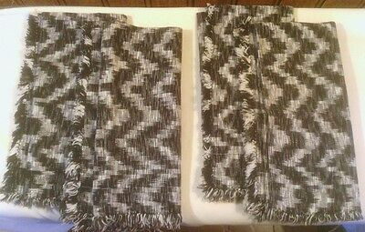 Dinner Napkins, 4 Black and White Cotton Slub  Weave, Self Fringed, Hand Made
