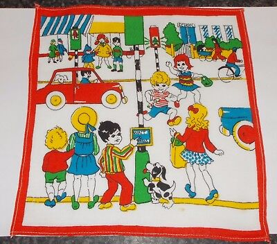 Vintage Childrens Handkerchief cotton SCHOOL CROSSING