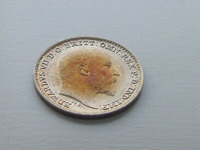Edward VII Silver Maundy 1D Penny 1907, Stunning Blue & Red Tone.