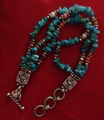 Q.T.  Carolyn Pollack Multi Stone Turquoise Sterling Silver Toggle Bead BRACELET