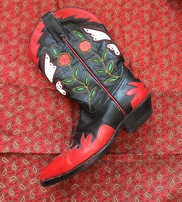 Vintage Original Heavily Embroidered Mexican Leather Western Cowboy Boots