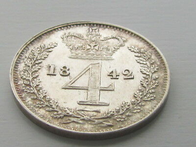 Victoria 1842 Silver Maundy 4D Fourpence, Very High Grade.