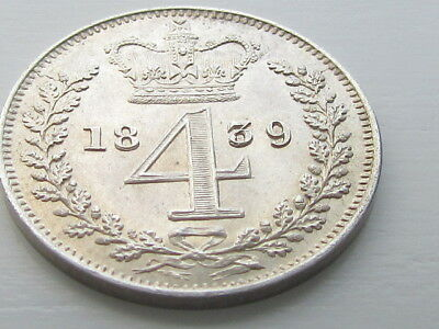 Victoria 1839 Silver Maundy 4D Fourpence, Very High Grade.