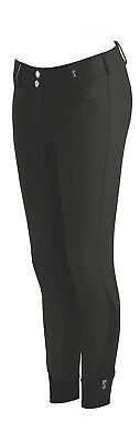 (28 Long, Black) - Tredstep Rosa Ladies Knee Patch Breech. Tredstep Ireland
