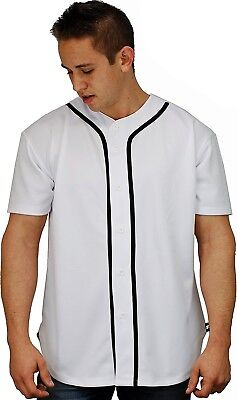 (X-Large, White) - Baseball Jersey T-Shirts Plain Button Down Sports Tee
