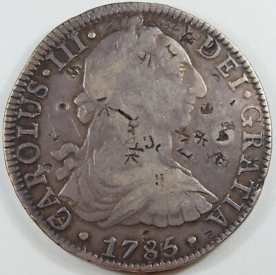 Mexico 8 reales 1785 Mo FM Chinese chopmarks