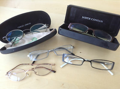 5 pairs of second hand reading glassies including 1x jasper conrad 1x armani