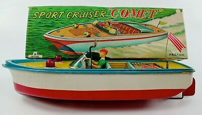 "Vintage Bandai ""Comet"" Tin Litho Sport Cruiser Working Friction Boat W/box Nr"
