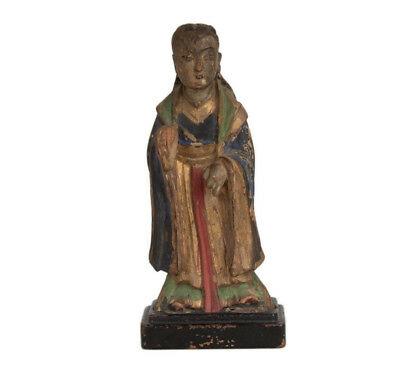 China 17./18. Jh. Holzfigur - A Chinese Carved Wood Figure of a Deity - Chinois