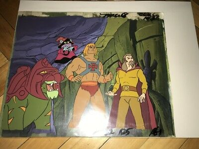 MOTU He-Man Animation Production Art Cel with original hand painted background