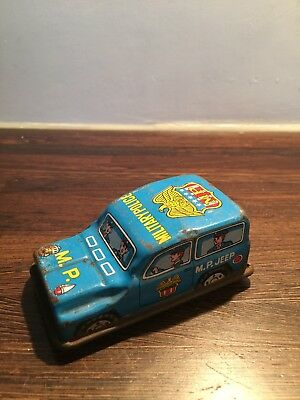 Vintage Tin Toy Car Military Police Jeep Made In Japan