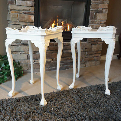 High end White Hand Carved pair of 2 Traditional ball and claw Side Night table