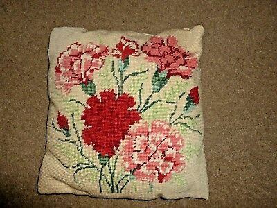 Pretty vintage hand-stitched wool tapestry cushion Carnation Flowers brocade bac