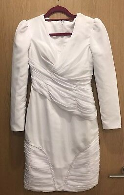 Brand new white short bridal wedding gown dress ruche quality size S UK 8