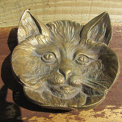 2 Vintage Cast Brass pin dish design Cats Face and Horse's Head