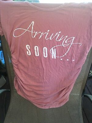 Pinc brand maternity shirt size large - Rose /pinkish color with white lettering