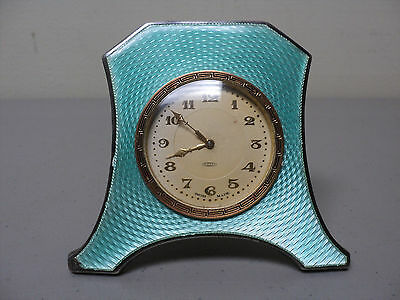 Antique ART DECO 8-Day Travel Clock, Sterling Silver & Guilloche ENAMEL Case