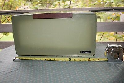 Retro Vintage Olive Green Bread Box with built in wooden cutting board USA Made