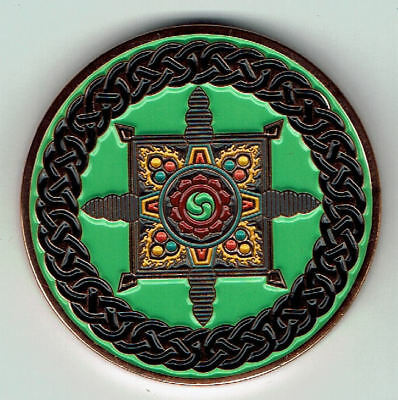 Celtic Geocoin CE 62 Dharmachakra-Endless Knot, copper polished,  unact.