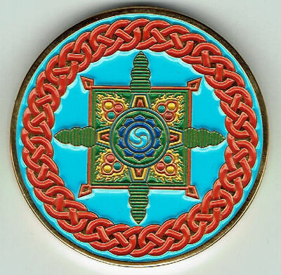 Celtic Geocoin CE 62 Dharmachakra-Endless Knot, golden polished,  unact.