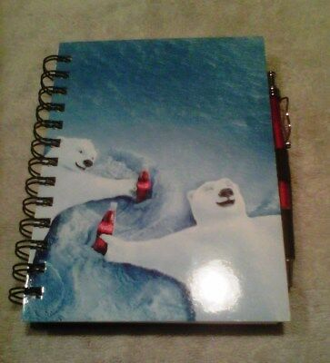 Coca-Cola Polar Bears Binded Note Book with Pen and Page Strap - New
