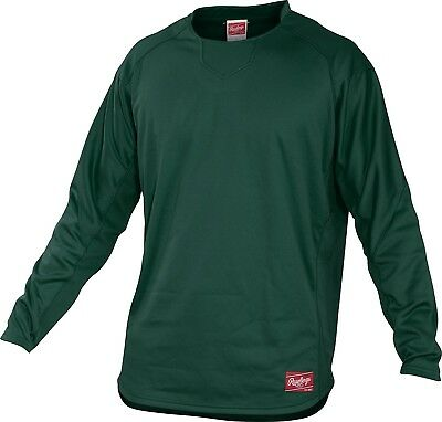 (Small, Dark Green) - Rawlings Youth Dugout Fleece Pullover. Huge Saving