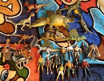 Vintage Jurassic Park Dinosaurs + Action Figures Lot ( 21 Pieces )+ Accessories