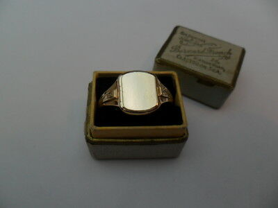 Vintage 1976 Hallmarked Gold On Silver Gents Classic Signet Ring,UK Size X Boxed