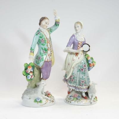 "Pair of 7"" Sitzendorf Porcelain Figurines: Woman Playing Tambourine, Man Dancing"