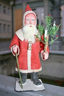 antique german santa claus with feather tree + glass light bulbs