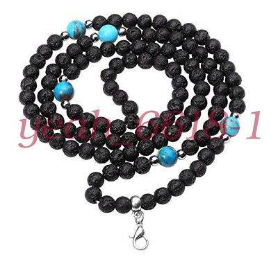 Buddhist 108 Mala Lava Stone Beads with Jasper Prayer Bracelet/Necklace 6mm