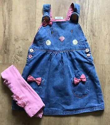 Girls Denim Dress And Tights Age 12-18 Months