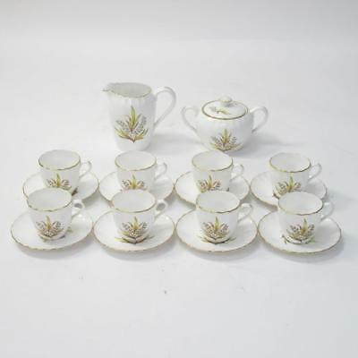 18pc Spode Andromeda (Y7498) Floral White Bone China Tea Set with Gold Piping