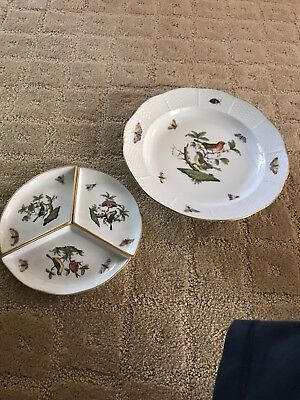 Herend Hungary Dinner Plate Hand Painted Birds and split little dishes.